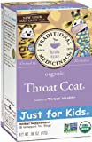 Traditional Medicinals Just for Kids Organic Throat Coat Herbal Tea,18-Count Wrapped Tea Bags (Pack of 6)