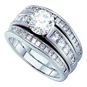 14K White Gold 2.36 TCW Diamond Wedding Ring Sets Will Ship With Free Velvet Jewelry Gift Box