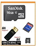 SanDisk 16GB MicroSDHC Memory Card with Adapter (Bulk Package) + SanDisk MicroSDHC to MiniSDHC Adapter (Bulk) + USB2.0 High Speed Card Reader