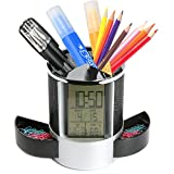 Geekdigg Multifunctional Pen Holder Pencil Container Digital LED Desk Clock Mesh with Calendar Timer Alarm Clock Thermometer 2 Small Drawer (Black)