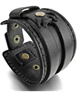 MunkiMix Alliage Genuine Leather Cuir Véritable Bracelet Bracelet Menotte Noir Punk Rock Homme