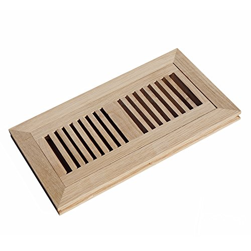 WELLAND Wood Vent Cover Floor Register Louvered with Frame Flush Mount Unfinished, 6 inch X 12 inch, White Oak (Heat Register Cover Oak compare prices)