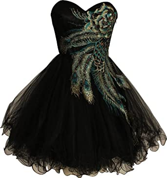 Metallic Peacock Embroidered Holiday Party Prom Dress Junior Plus Size, Size: XS, Color: Black
