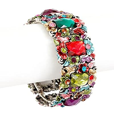 Multi Colored Painted Flower and Crystal Bangle Fashion Bracelet: Jewelry