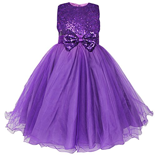 iEFiEL Girls Sequin Bowknot Princess Dance Ball Party Flower Dress Purple 5-6