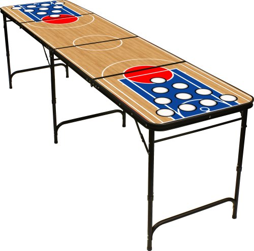 Basketball Beer Pong Table 8ft - Premium HD Design - Black Aluminum with Ball Rack & 6 Pong Balls! Red Cup Pong Pong Games autotags B005U5870U