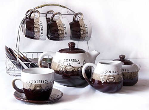 Sanjee Ceramic Cloud&Beach Ceramic Tea Set 15-Piece White And Brown ,Coffee Bean Pattern,Set Of 6,606B2-D front-388953