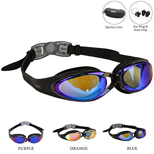 Adult Swim goggles - Anti-Fog Coated Tinted Lens with Silicone eye Cups, Leak Proof, Best Pool Glass for Swimming, With Quality Goggle Case, Nose Clip & Ear Plugs by Bezzee-Pro (Black, Blue)
