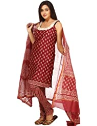 Exotic India Cordovan Block-Printed Chanderi Choodidaar Salwar Kameez - Cordovan