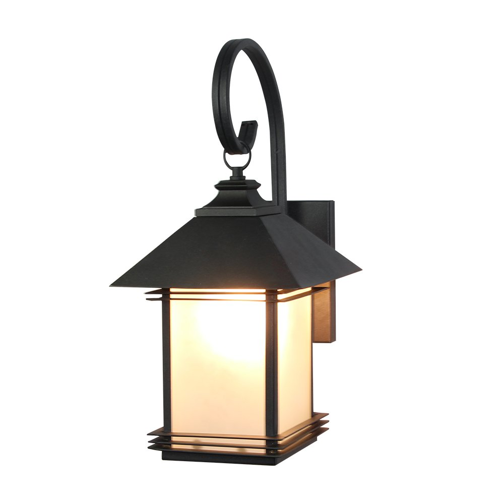 LNC Industrial Edison Vintage Style Loft One-Light Exterior Wall Lantern Outdoor Light Fixture,Black Finish with Glass 2