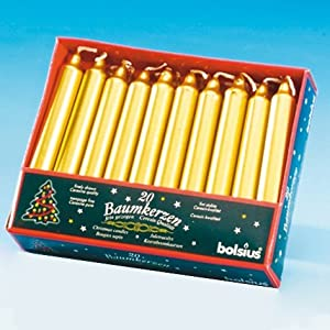 Bolsius Christmas Tree Candles Gold Pack Of 20