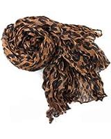 Sanwood Women's Soft Leopard Print Crinkle Shawl Scarf