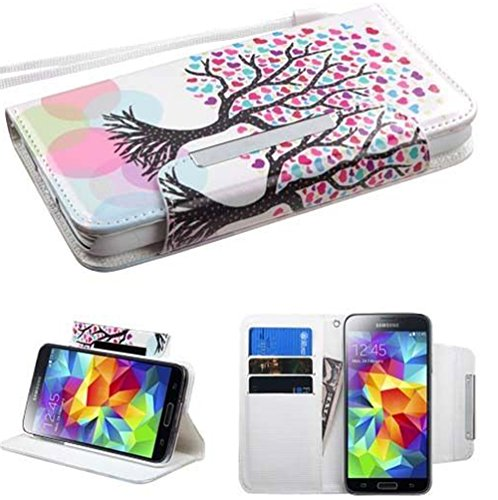 Mylife (Tm) Marshmallow White Colorful Tree Of Hearts - Modern Design - Koskin Faux Leather (Card, Cash And Id Holder + Magnetic Detachable Closing) Slim Wallet For New Galaxy S5 (5G) Smartphone By Samsung (External Rugged Synthetic Leather With Magnetic
