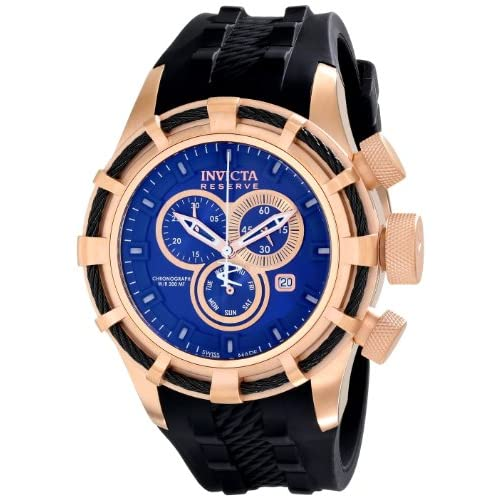 Invicta  Bolt Men's Quartz Watch with Blue Dial Chronograph Display and Black Silicone Strap Rose Gold Plated...