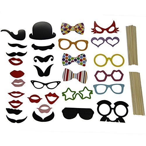 New 31PCS DIY Photo Booth Props Mustache On A Stick Weddings Christmas Birthday - 1