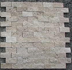 Split Face 1x2 Classic Beige Travertine For Kitchen Bathroom backsplash & Exterior Use