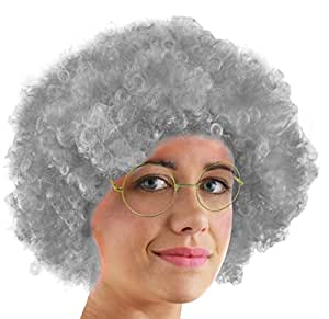 AFRO WIG FANCY DRESS ACCESSORY FUNKY LARGE CURLY HAIR 70'S DISCO CLOWN MENS LADIES IN MANY COLOURS (GREY)