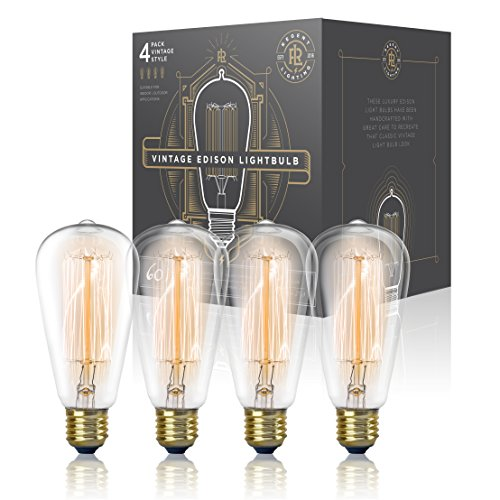 Vintage Edison Light Bulb 60W (4 Pack) - Dimmable Exposed Filament - Incandescent Clear DST58 Teardrop Squirrel Cage Style - E26 Medium Base 2700K (Clear Bulbs compare prices)
