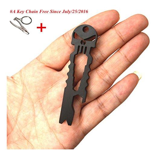 Doinshop New Useful Outdoor Stainless Skull EDC Survival Pocket Tool Key Ring Opener (black)