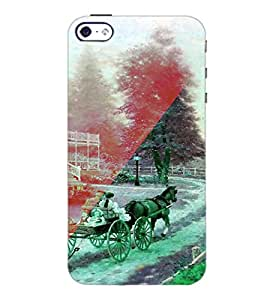 PrintDhaba Chariot D-4926 Back Case Cover for APPLE IPHONE 5S (Multi-Coloured)