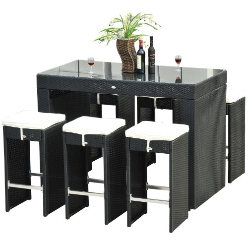 Outsunny 7-Piece Rattan Wicker Bar Stool Dining Table Set, Black image
