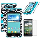 MINITURTLE, Premium Sleek Dual Layer 2 in 1 Hybrid Protective TUFF Case Cover and Screen Protetor Film for Prepaid Android Smartphone LG Optimus Showtime L86C / L86G and LG Optimus Ultimate L96G from Straight Talk (Zebra Skin / Tropical Teal)