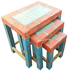 Set of 3 Wooden Square Hand Printed Stool Brass Work -Handicraft Gift - 17 Inch