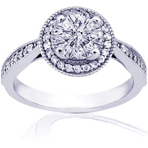 1.30 Ct Round Diamond Engagement Ring Pave 14K