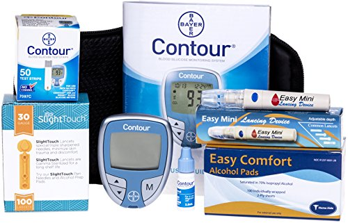 Bayer-Contour-Meter-50-Contour-Test-Strips-100-Slight-Touch-30g-Lancets-1-Lancing-Device-100-Alcohol-Prep-Pads-and-Control-Solution