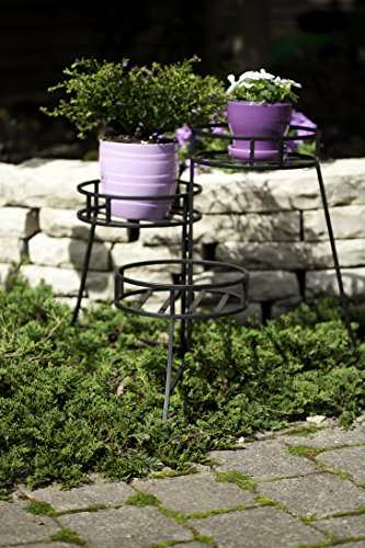 Panacea 86715 Plant Stand with Contemporary Design and 3-Tier Round Fold Out, 21-Inch Height, Black