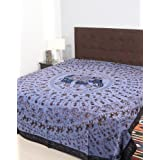 Rajrang Black, Blue Cotton Embroidered Bedsheet Single #Bst02190
