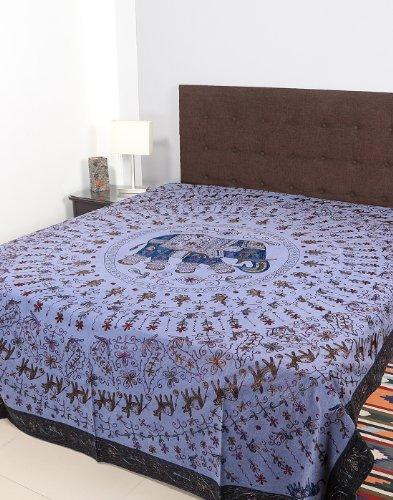Rajrang Black, Blue Cotton Embroidered Bedsheet Single #Bst02190