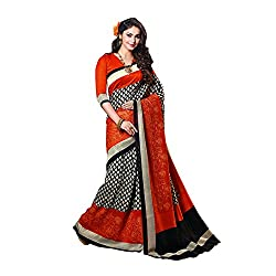 Fashionate Thapa Silk Orange-Red Printed Saree
