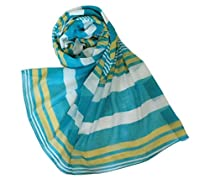 Chicastic Blue & Green Multi Color Cotton Summer Scarf Wrap Stole Shawl