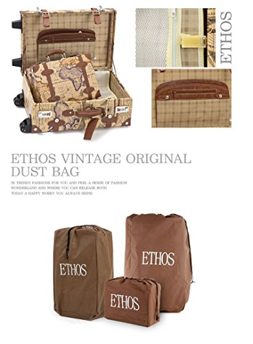 EDDAS ETHOS PVC Vintage & Retro Style Carry-On Luggage and Cosmetic Tote Bag Set with 3 Dial Lock (Product of Korea) 4