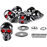 Motorcycle 6 x Skull Black Bolts - Custom Black Motorcycle Bolts used for License Plate bolts, Windshield bolts and any 5mm thread, fits HONDA YAMAHA KAWASAKI SUZUKI HARLEY DAVIDSON CRUISERS METRIC BIKES MOTORCYCLE