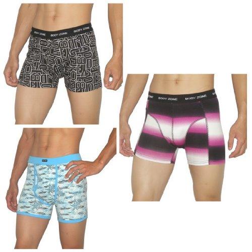 3 PACK: Mens Body Zone Fitted Fine knit Bodywear Boxer Trunks / Underwear Briefs - Size-Medium