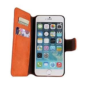 NEW YEAR SALES WaitingU iPhone 6 Case Stand Retro Dull Polish Cellphone Case Thin Cards Organizer Simple Design Folio Flip iPhone 6 Holder Cover Protective for Apple iPhone 6s 4.7 - Orange
