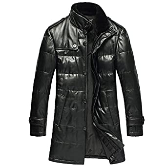 Cwmalls Mens Black Leather Down Coat CW866332