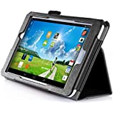 VSTN ® Acer Iconia One 8 B1-810 Multi-Angle Stand Slim-Book PU Leather Cover Case with Hand Strap&Card Holder, Only fit Acer Iconia One 8 B1-810 tablet (Black)
