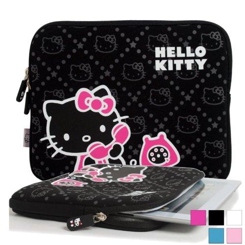Hülle für Prestigio MultiPad 2 Prime Duo 8.0, Pro Duo 8.0 3G Tablet mit Hello Kitty Motiv in Schwarz (Neopren, Wasserdicht, Dual YKK Reißverschlüsse, mit weichem Plüsch Innenfutter)
