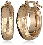 Duragold 14k Yellow Gold Diamond-Cut Hoop Earrings