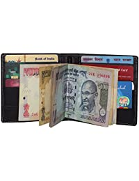 STYLE98 Leather Credit Card ATM Card Case & Money Clip Holder Leather For Men & Women - Black