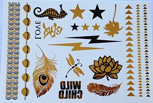 Lightning Bolt Black and Gold Metallic Temporary Tattoo by Whirled Planet