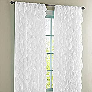 Cascade Shabby Chic Sheer Ruffled Curtain Panel 95 Long Panel White