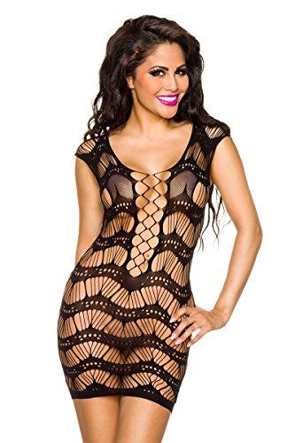 Amynetti Damen Kleid Sexy Aufregendes Netz - GoGo Minikleid Partykleid Clubkleid Dessous Negligee
