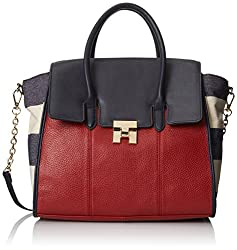 Tommy Hilfiger Turnlock Mixed Material Leather and Canvas Convertible Top Handle Shoulder Bag