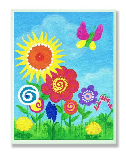 The Kids Room by Stupell Bright Butterfly and Flowers Rectangle Wall Plaque