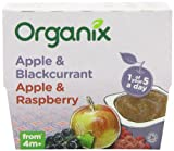 Organix Stage 1 From 4 Months Organic Fruit Pots Apple and Blackcurrant/Apple and Raspberry 4 x 100 g (Pack of 6, Total 24 Pots)