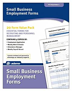 Adams Small Business Employment Forms, 8.5 x 11 Inch, 4 Each of 5 Different Forms, White (HV100)